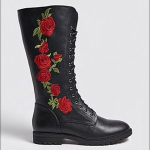 FOREVER 21 TALL ROSE EMBROIDERED BOOTS
